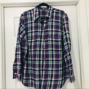 Purple plaid flannel shirt